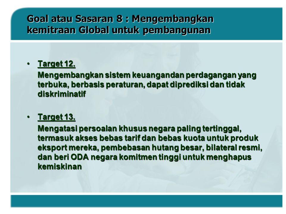 Goal atau Sasaran 8 : Mengembangkan kemitraan Global untuk pembangunan Target 12.Target 12. Mengembangkan sistem keuangandan perdagangan yang terbuka,