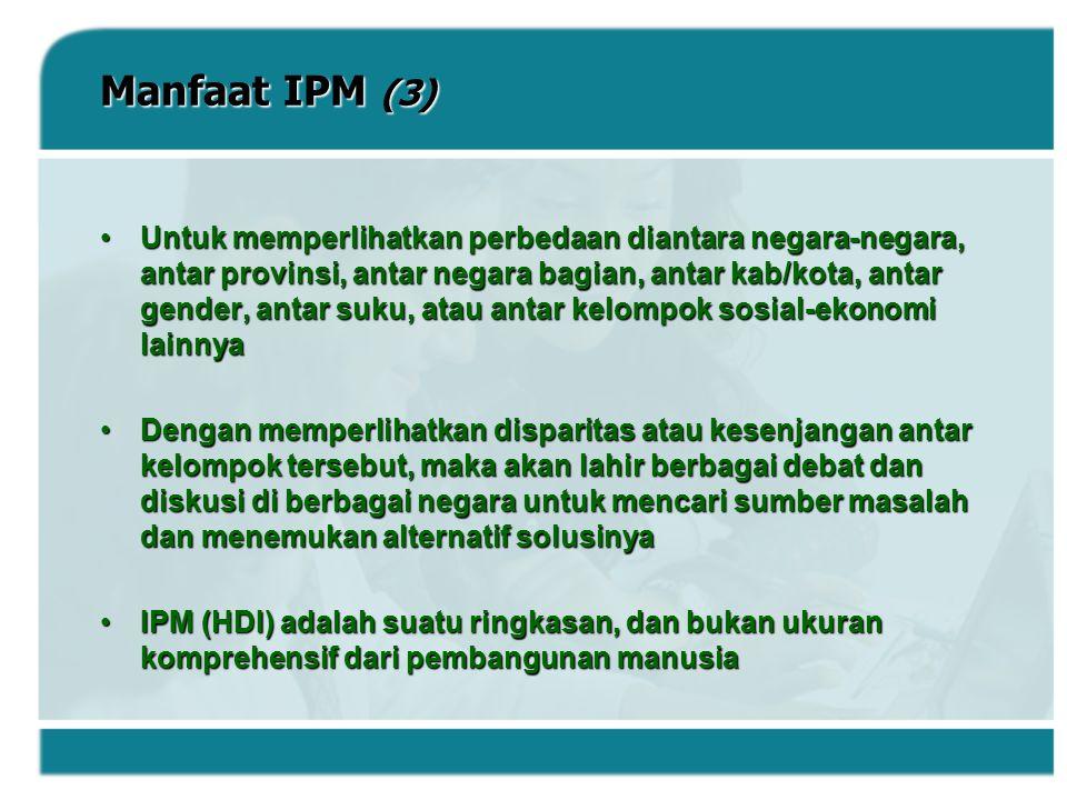 Manfaat IPM (3) Untuk memperlihatkan perbedaan diantara negara-negara, antar provinsi, antar negara bagian, antar kab/kota, antar gender, antar suku,