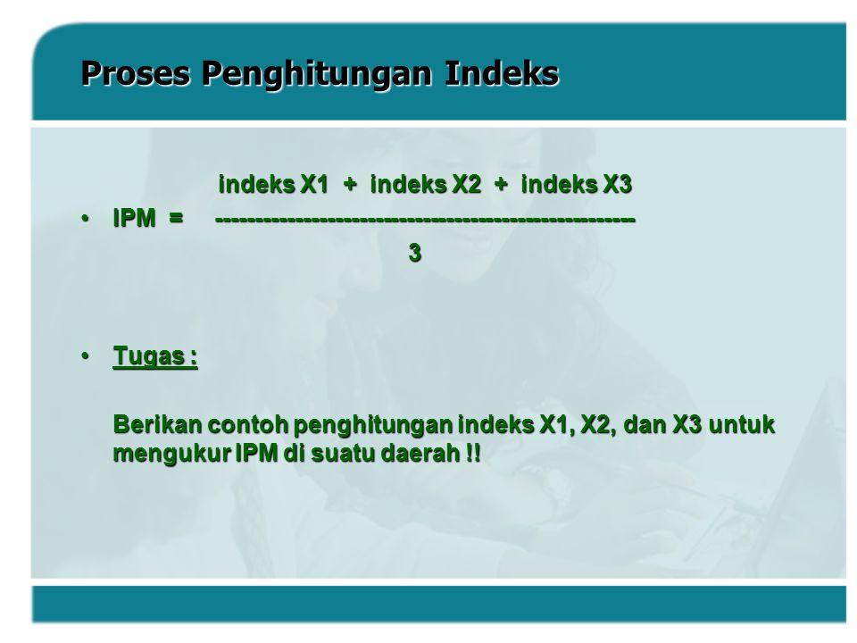 Proses Penghitungan Indeks indeks X1 + indeks X2 + indeks X3 indeks X1 + indeks X2 + indeks X3 IPM = -------------------------------------------------