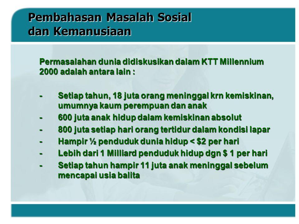 DimensiIndikator Indeks Dimensi Umur panjang dan sehat Angka harapan hidup saat lahir (eo) Indeks Harapan Hidup  Indeks X1 Pengetahuan 1.Angka melek huruf (AMH) 2.Angka lama sekolah (YMS) Indeks Pendidikan  Indeks X2 Kehidupan yang layak Pengeluaran per kapita riil yang disesuaikan (PPP Rupiah) Indeks Pendapatan  Indeks X3 Sumber : Biro Pusat Statistik (1997) Statistik Kesejahteraan Rakyat