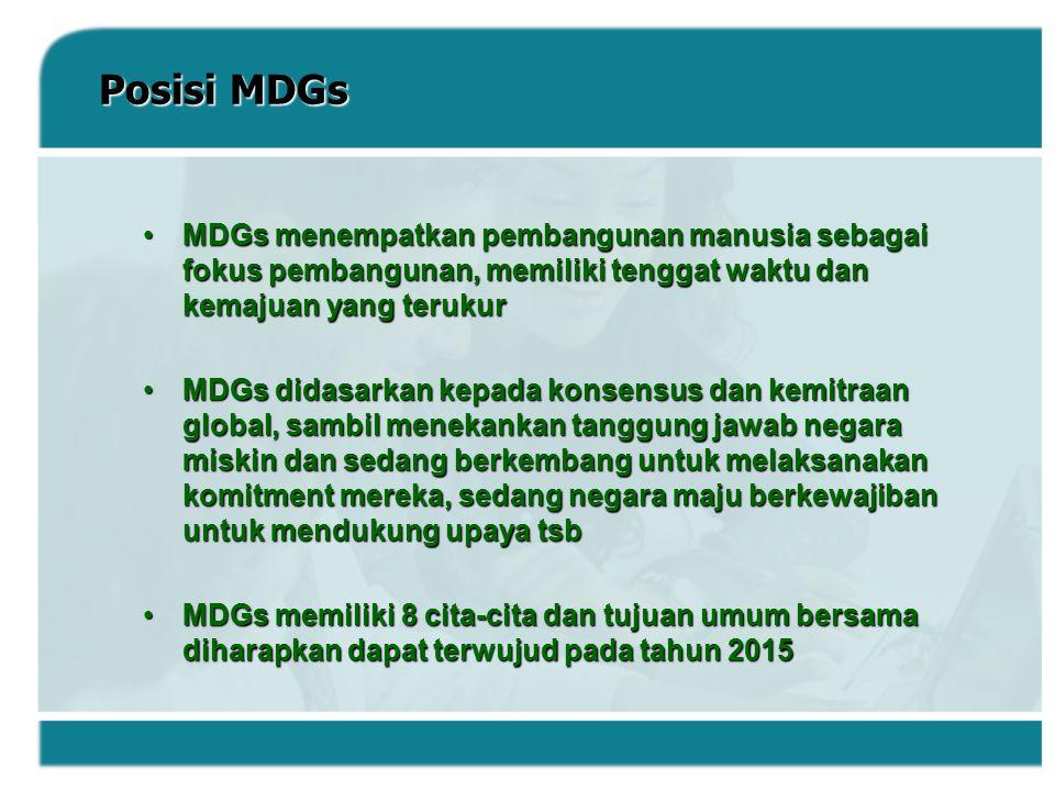 Posisi MDGs MDGs menempatkan pembangunan manusia sebagai fokus pembangunan, memiliki tenggat waktu dan kemajuan yang terukurMDGs menempatkan pembangun