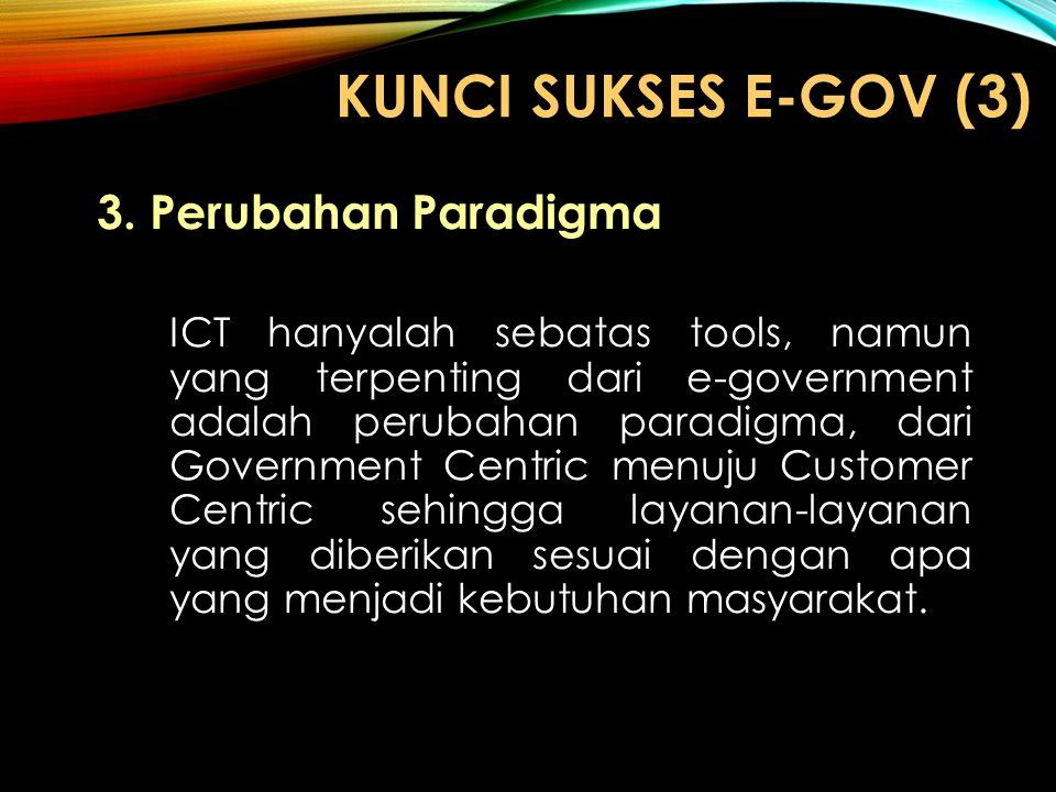 KUNCI SUKSES E-GOV (3) 3.Perubahan Paradigma ICT hanyalah sebatas tools, namun yang terpenting dari e-government adalah perubahan paradigma, dari Gove