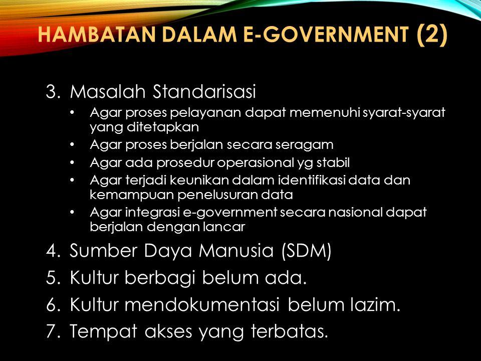 HAMBATAN DALAM E ‑ GOVERNMENT (2) 3.Masalah Standarisasi Agar proses pelayanan dapat memenuhi syarat-syarat yang ditetapkan Agar proses berjalan secar