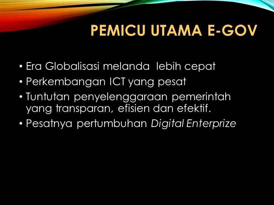 PEMICU UTAMA E-GOV Era Globalisasi melanda lebih cepat Perkembangan ICT yang pesat Tuntutan penyelenggaraan pemerintah yang transparan, efisien dan ef