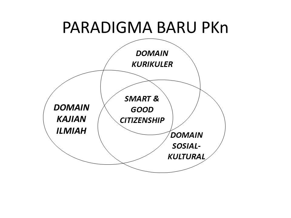 PARADIGMA BARU PKn DOMAIN KAJIAN ILMIAH DOMAIN SOSIAL- KULTURAL SMART & GOOD CITIZENSHIP DOMAIN KURIKULER