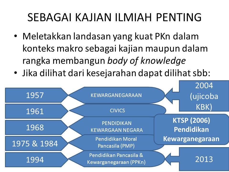 SEBAGAI KAJIAN ILMIAH PENTING Meletakkan landasan yang kuat PKn dalam konteks makro sebagai kajian maupun dalam rangka membangun body of knowledge Jik