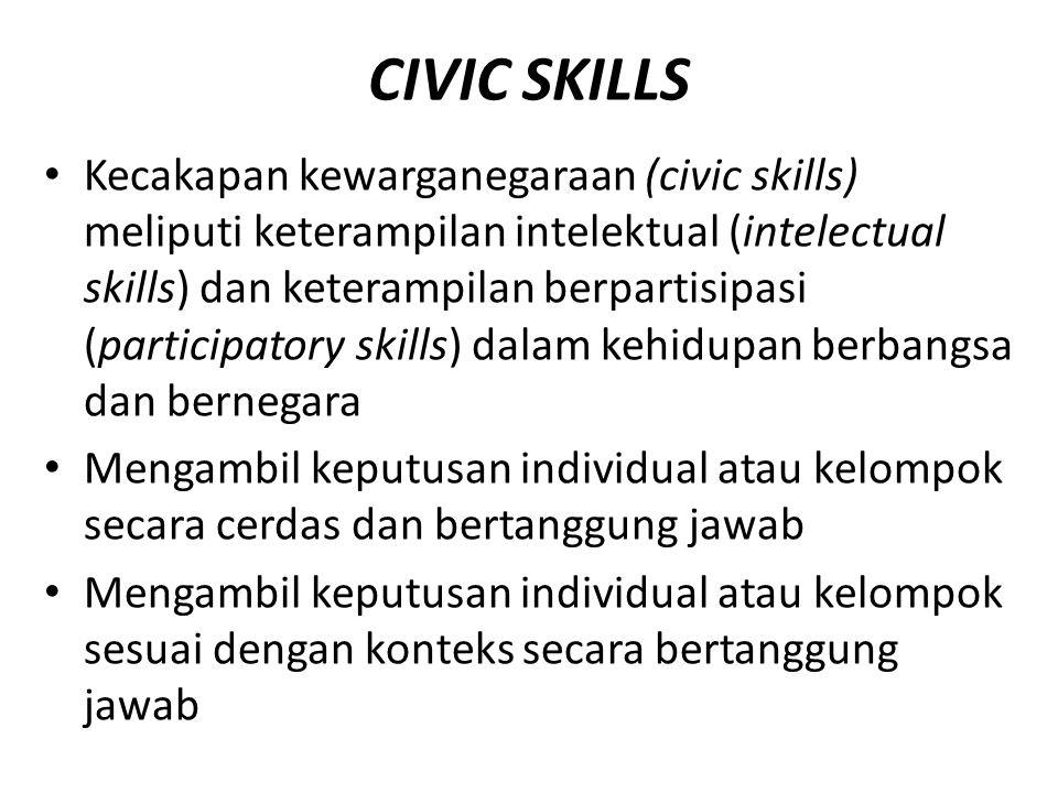 CIVIC SKILLS Kecakapan kewarganegaraan (civic skills) meliputi keterampilan intelektual (intelectual skills) dan keterampilan berpartisipasi (participatory skills) dalam kehidupan berbangsa dan bernegara Mengambil keputusan individual atau kelompok secara cerdas dan bertanggung jawab Mengambil keputusan individual atau kelompok sesuai dengan konteks secara bertanggung jawab