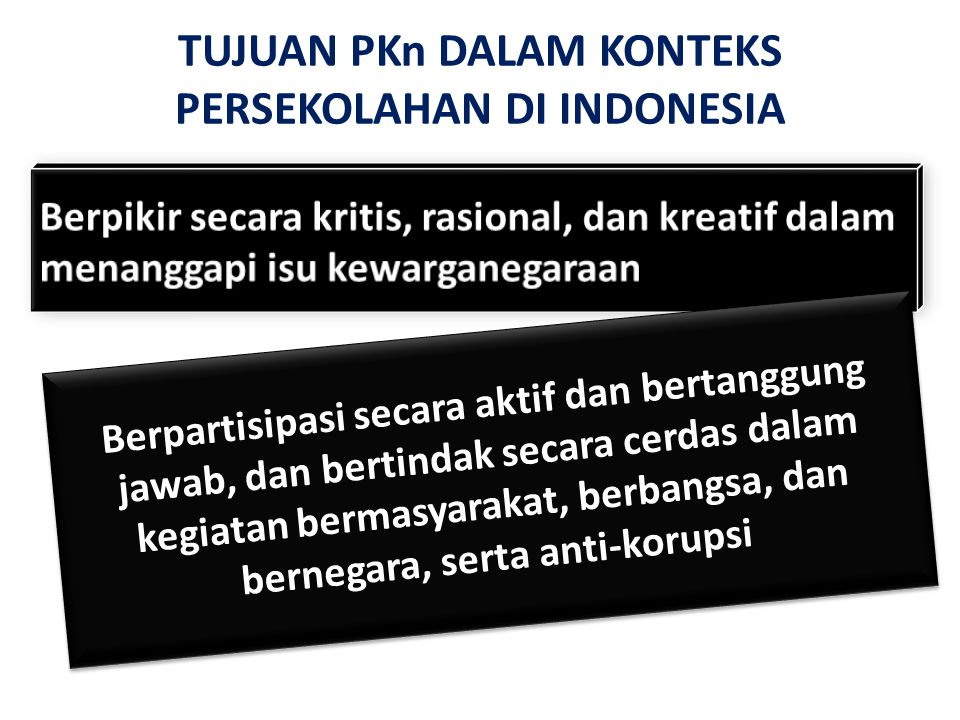 TUJUAN PKn DALAM KONTEKS PERSEKOLAHAN DI INDONESIA Berpartisipasi secara aktif dan bertanggung jawab, dan bertindak secara cerdas dalam kegiatan bermasyarakat, berbangsa, dan bernegara, serta anti-korupsi