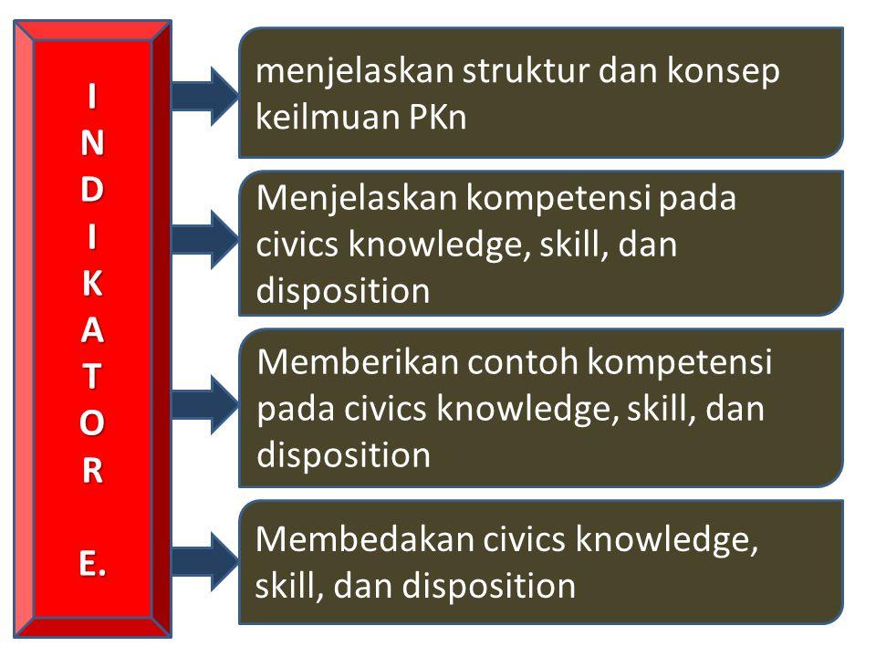 INDIKATORE. menjelaskan struktur dan konsep keilmuan PKn Menjelaskan kompetensi pada civics knowledge, skill, dan disposition Memberikan contoh kompet