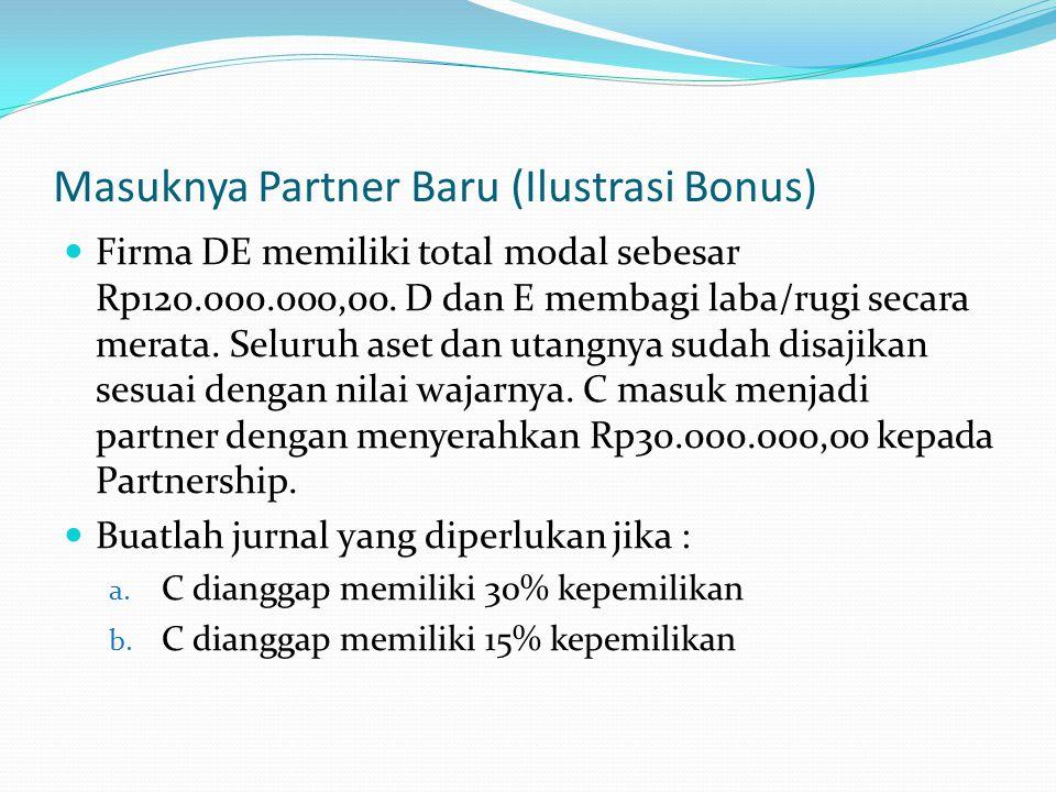 Masuknya Partner Baru (Ilustrasi Bonus) Firma DE memiliki total modal sebesar Rp120.000.000,00.