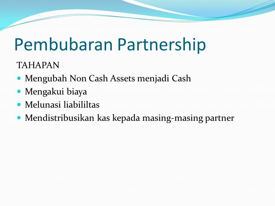 Pembubaran Partnership TAHAPAN Mengubah Non Cash Assets menjadi Cash Mengakui biaya Melunasi liabililtas Mendistribusikan kas kepada masing-masing partner