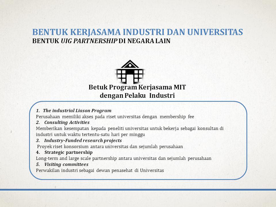 BENTUK KERJASAMA INDUSTRI DAN UNIVERSITAS BENTUK UIG PARTNERSHIP DI NEGARA LAIN 1.The industrial Liason Program Perusahaan memiliki akses pada riset universitas dengan membership fee 2.