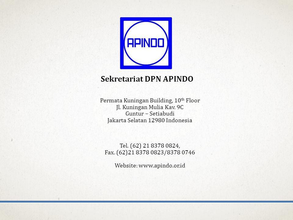 Sekretariat DPN APINDO Permata Kuningan Building, 10 th Floor Jl. Kuningan Mulia Kav. 9C Guntur – Setiabudi Jakarta Selatan 12980 Indonesia Tel. (62)