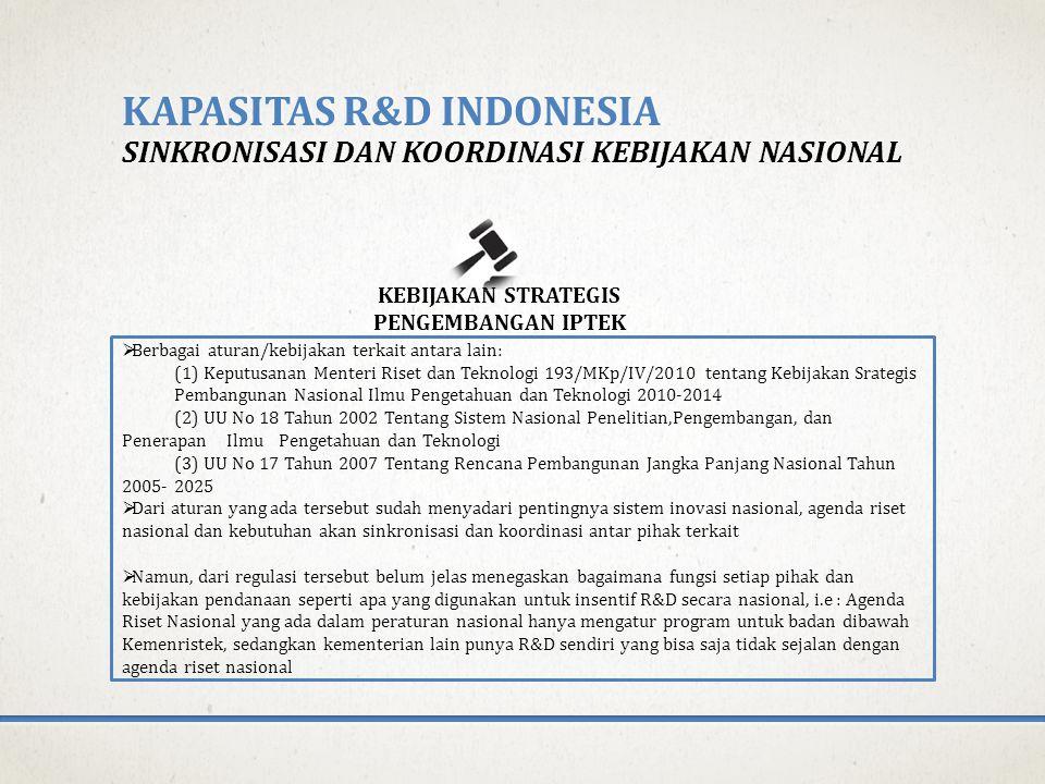 KAPASITAS R&D INDONESIA SINKRONISASI DAN KOORDINASI KEBIJAKAN NASIONAL KEBIJAKAN STRATEGIS PENGEMBANGAN IPTEK  Berbagai aturan/kebijakan terkait antara lain: (1) Keputusanan Menteri Riset dan Teknologi 193/MKp/IV/2010 tentang Kebijakan Srategis Pembangunan Nasional Ilmu Pengetahuan dan Teknologi 2010-2014 (2) UU No 18 Tahun 2002 Tentang Sistem Nasional Penelitian,Pengembangan, dan Penerapan Ilmu Pengetahuan dan Teknologi (3) UU No 17 Tahun 2007 Tentang Rencana Pembangunan Jangka Panjang Nasional Tahun 2005-2025  Dari aturan yang ada tersebut sudah menyadari pentingnya sistem inovasi nasional, agenda riset nasional dan kebutuhan akan sinkronisasi dan koordinasi antar pihak terkait  Namun, dari regulasi tersebut belum jelas menegaskan bagaimana fungsi setiap pihak dan kebijakan pendanaan seperti apa yang digunakan untuk insentif R&D secara nasional, i.e : Agenda Riset Nasional yang ada dalam peraturan nasional hanya mengatur program untuk badan dibawah Kemenristek, sedangkan kementerian lain punya R&D sendiri yang bisa saja tidak sejalan dengan agenda riset nasional