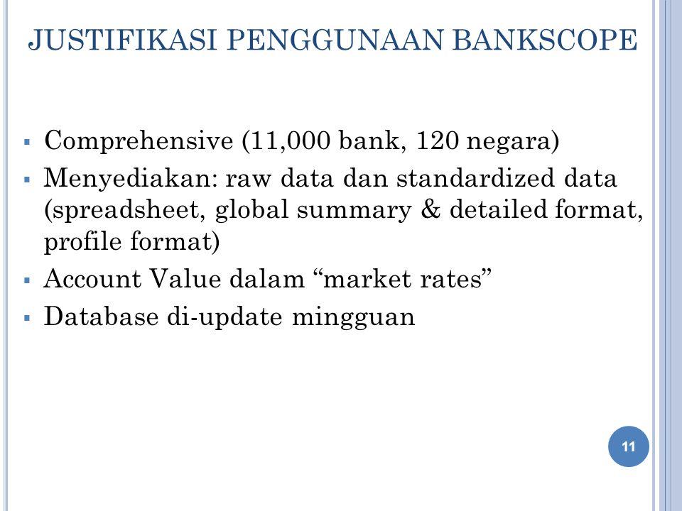 JUSTIFIKASI PENGGUNAAN BANKSCOPE  Comprehensive (11,000 bank, 120 negara)  Menyediakan: raw data dan standardized data (spreadsheet, global summary