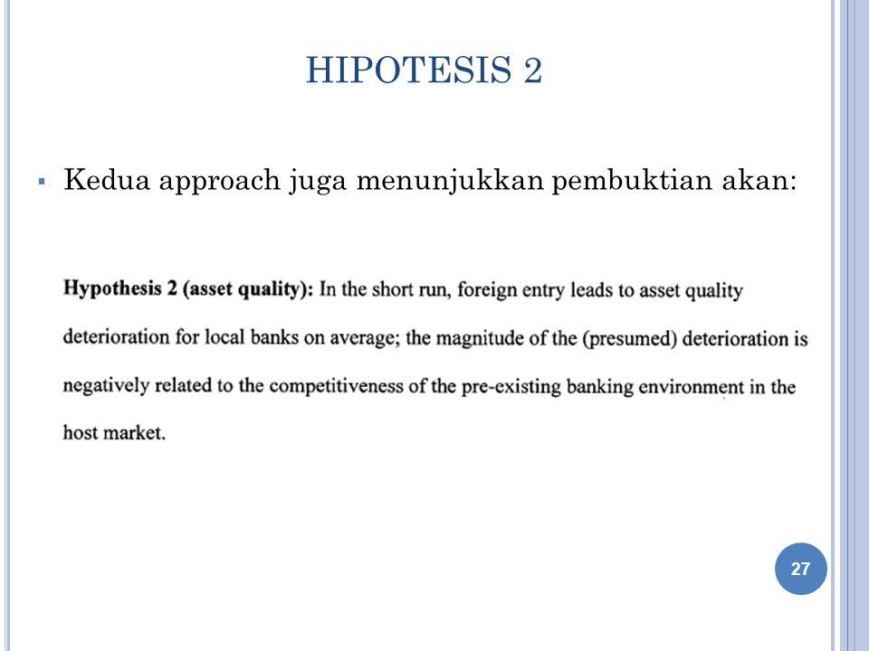 HIPOTESIS 2  Kedua approach juga menunjukkan pembuktian akan: 27