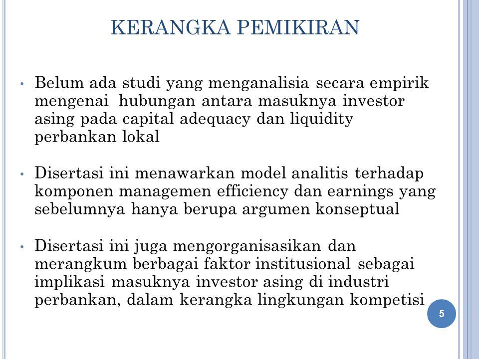 KERANGKA PEMIKIRAN Belum ada studi yang menganalisia secara empirik mengenai hubungan antara masuknya investor asing pada capital adequacy dan liquidi