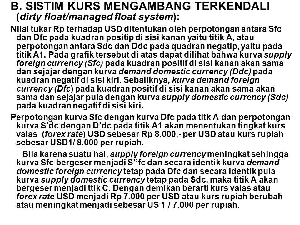 Jika pemerintah ingin mempertahankan kurs yang relatif stabil pada tingkat Rp 8000 / USD, pemerintah dengan melalui berbagai kebijakan moneter dan fiskal dapat campur tangan, baik secara langsung maupun tidak langsung.