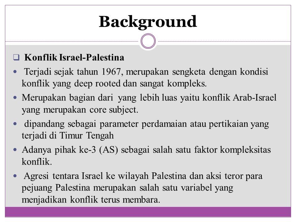 Background  Konflik Israel-Palestina Terjadi sejak tahun 1967, merupakan sengketa dengan kondisi konflik yang deep rooted dan sangat kompleks. Merupa