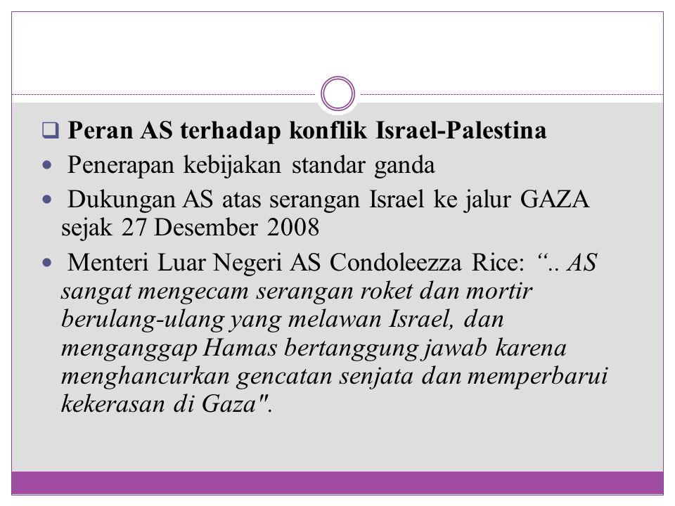  Peran AS terhadap konflik Israel-Palestina Penerapan kebijakan standar ganda Dukungan AS atas serangan Israel ke jalur GAZA sejak 27 Desember 2008 M