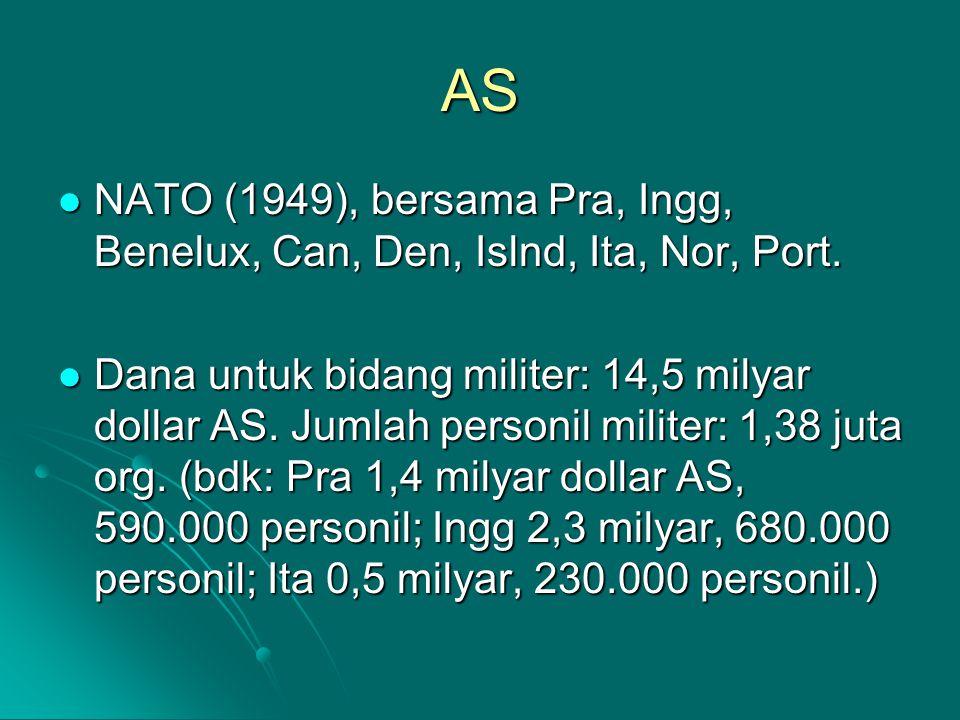 AS NATO (1949), bersama Pra, Ingg, Benelux, Can, Den, Islnd, Ita, Nor, Port. NATO (1949), bersama Pra, Ingg, Benelux, Can, Den, Islnd, Ita, Nor, Port.