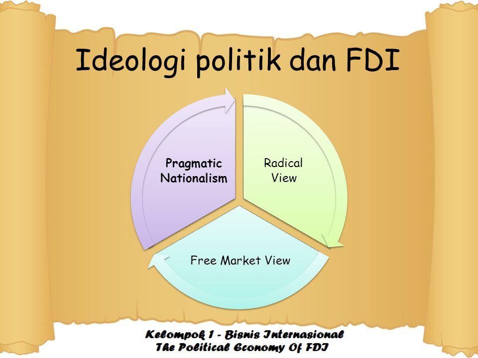 Ideologi politik dan FDI Radical View Free Market View Pragmatic Nationalism