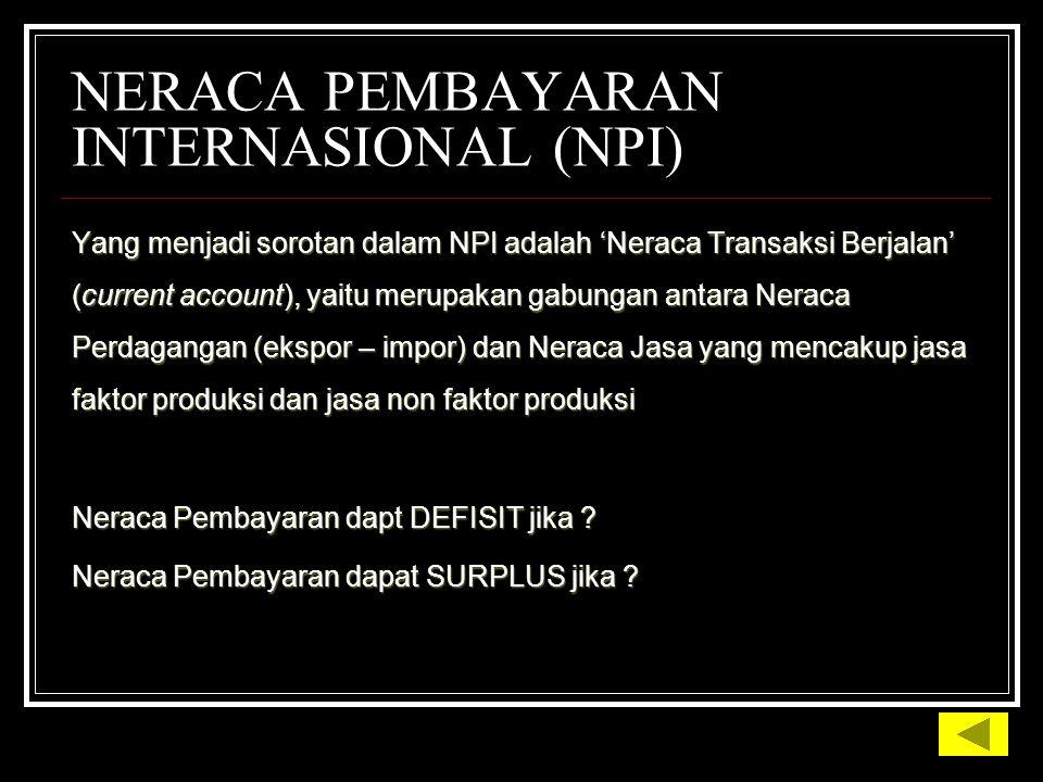 NERACA PEMBAYARAN INTERNASIONAL (NPI) Yang menjadi sorotan dalam NPI adalah 'Neraca Transaksi Berjalan' (current account), yaitu merupakan gabungan antara Neraca Perdagangan (ekspor – impor) dan Neraca Jasa yang mencakup jasa faktor produksi dan jasa non faktor produksi Neraca Pembayaran dapt DEFISIT jika .