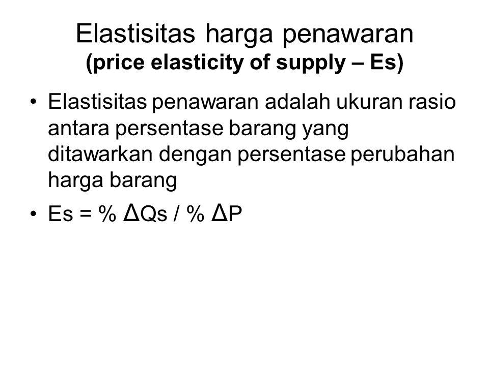 Elastisitas harga penawaran (price elasticity of supply – Es) Elastisitas penawaran adalah ukuran rasio antara persentase barang yang ditawarkan denga