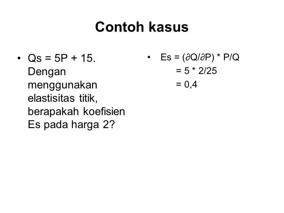Contoh kasus Qs = 5P + 15. Dengan menggunakan elastisitas titik, berapakah koefisien Es pada harga 2? Es = (∂Q/∂P) * P/Q = 5 * 2/25 = 0,4
