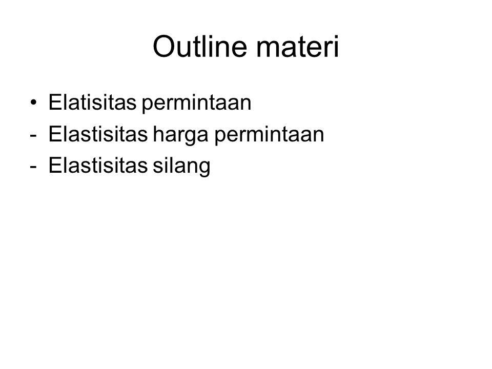 Outline materi Elatisitas permintaan -Elastisitas harga permintaan -Elastisitas silang