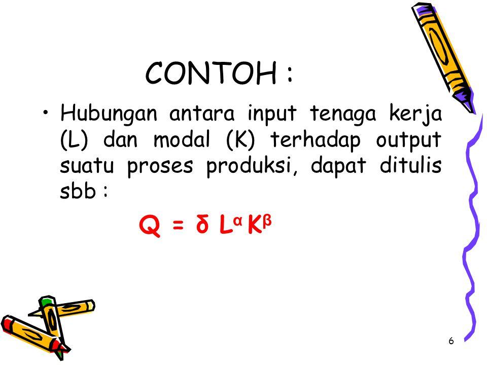 6 CONTOH : Hubungan antara input tenaga kerja (L) dan modal (K) terhadap output suatu proses produksi, dapat ditulis sbb : Q = δ L α K β