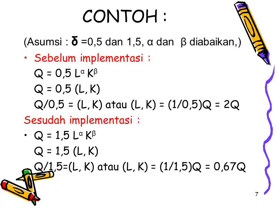 7 CONTOH : (Asumsi : δ =0,5 dan 1,5, α dan β diabaikan,) Sebelum implementasi : Q = 0,5 L α K β Q = 0,5 (L, K) Q/0,5 = (L, K) atau (L, K) = (1/0,5)Q =
