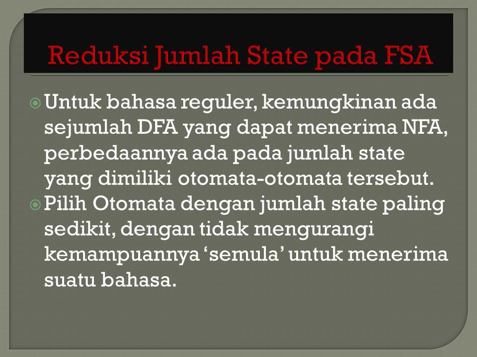 Untuk bahasa reguler, kemungkinan ada sejumlah DFA yang dapat menerima NFA, perbedaannya ada pada jumlah state yang dimiliki otomata-otomata tersebu
