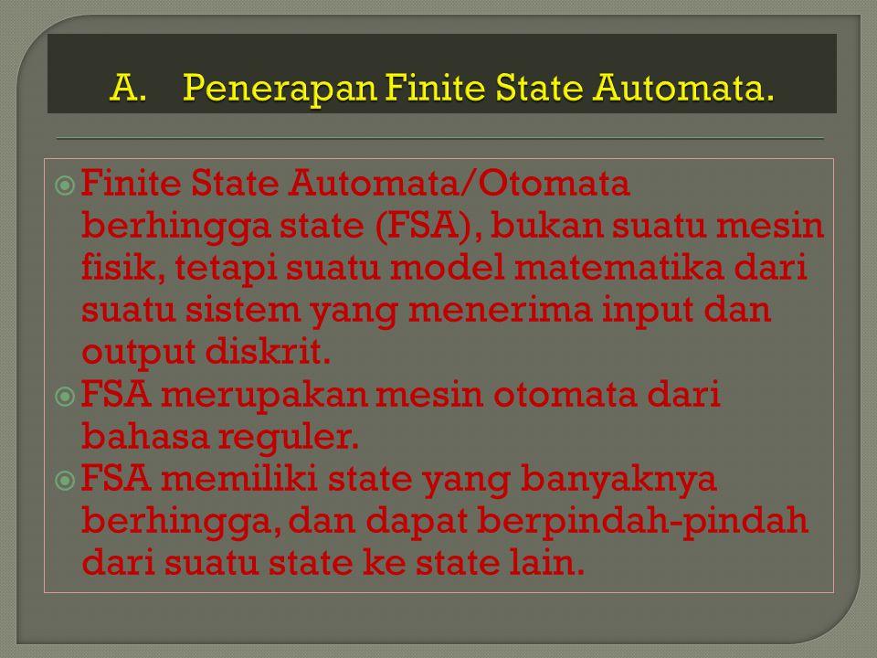  Perubahan state dinyatakan oleh fungsi transisi.