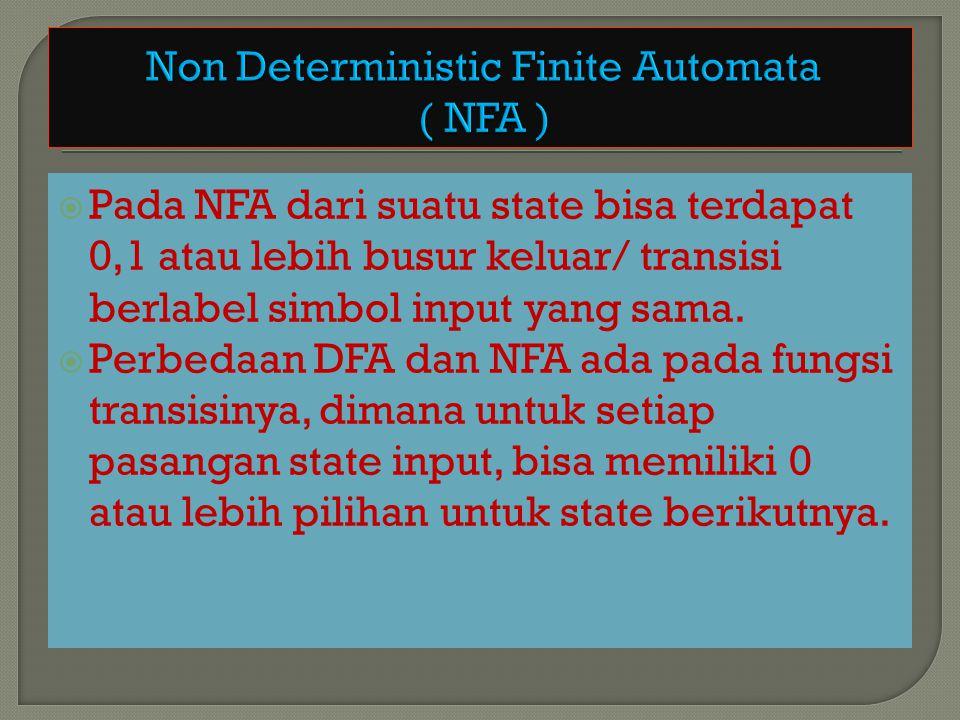  Suatu string diterima oleh NFA bila terdapat suatu urutan transisi sehubungan dengan input string tersebut dari state awal menuju state akhir.