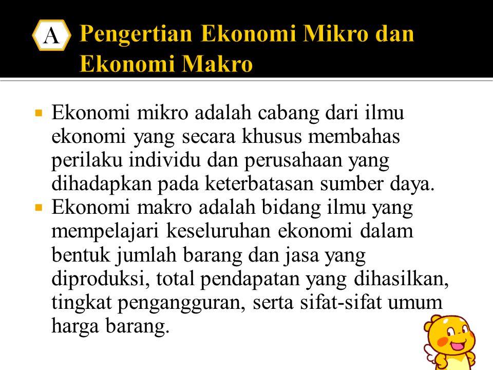 Ekonomi mikro adalah cabang dari ilmu ekonomi yang secara khusus membahas perilaku individu dan perusahaan yang dihadapkan pada keterbatasan sumber