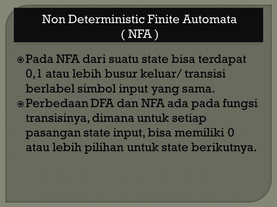  Pada NFA dari suatu state bisa terdapat 0,1 atau lebih busur keluar/ transisi berlabel simbol input yang sama.  Perbedaan DFA dan NFA ada pada fung