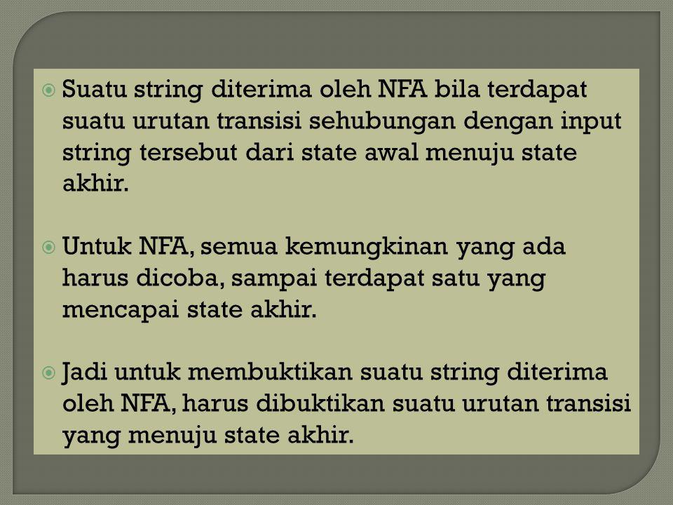  Suatu string diterima oleh NFA bila terdapat suatu urutan transisi sehubungan dengan input string tersebut dari state awal menuju state akhir.  Unt