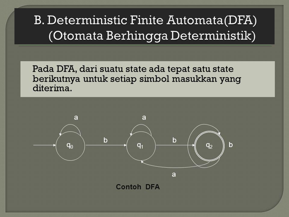 Pada DFA, dari suatu state ada tepat satu state berikutnya untuk setiap simbol masukkan yang diterima. q 0 a b q 1 a b q2q2 a b Contoh DFA