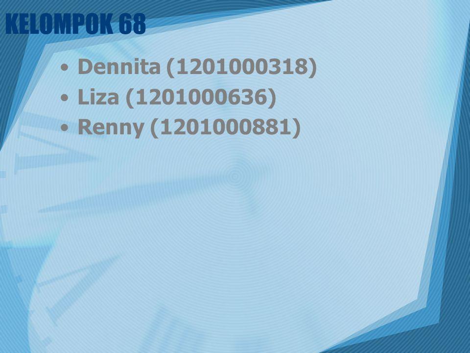 KELOMPOK 68 Dennita (1201000318) Liza (1201000636) Renny (1201000881)