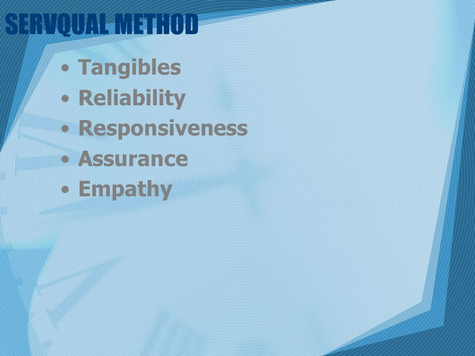 SERVQUAL METHOD Tangibles Reliability Responsiveness Assurance Empathy