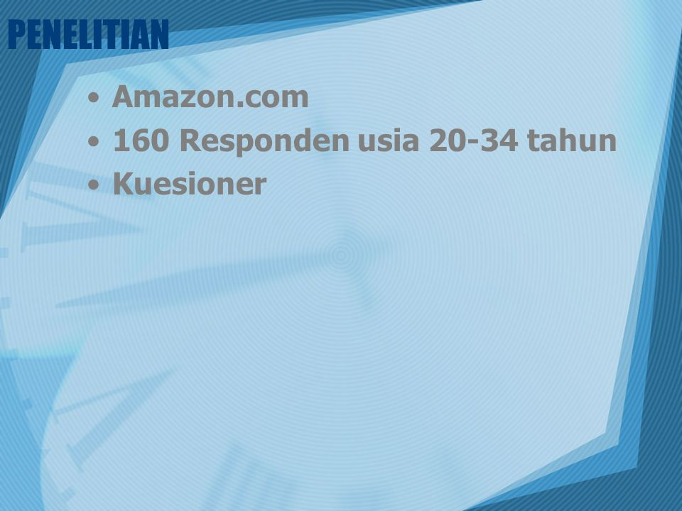 PENELITIAN Amazon.com 160 Responden usia 20-34 tahun Kuesioner