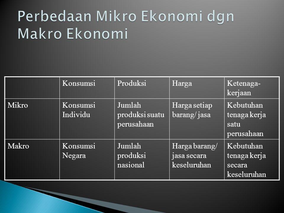 KonsumsiProduksiHargaKetenaga- kerjaan MikroKonsumsi Individu Jumlah produksi suatu perusahaan Harga setiap barang/ jasa Kebutuhan tenaga kerja satu p