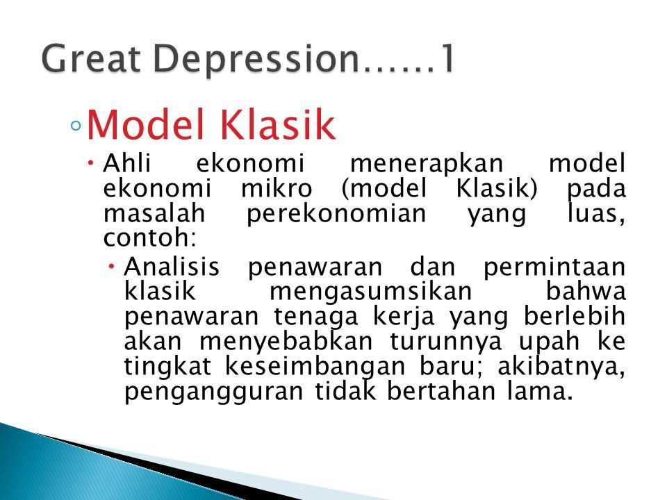 ◦ Model Klasik  Ahli ekonomi menerapkan model ekonomi mikro (model Klasik) pada masalah perekonomian yang luas, contoh:  Analisis penawaran dan perm
