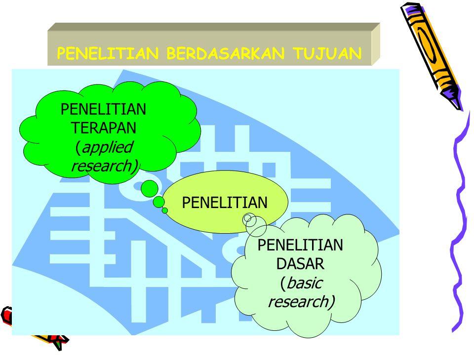 PENELITIAN BERDASARKAN TUJUAN PENELITIAN TERAPAN (applied research) PENELITIAN DASAR (basic research)
