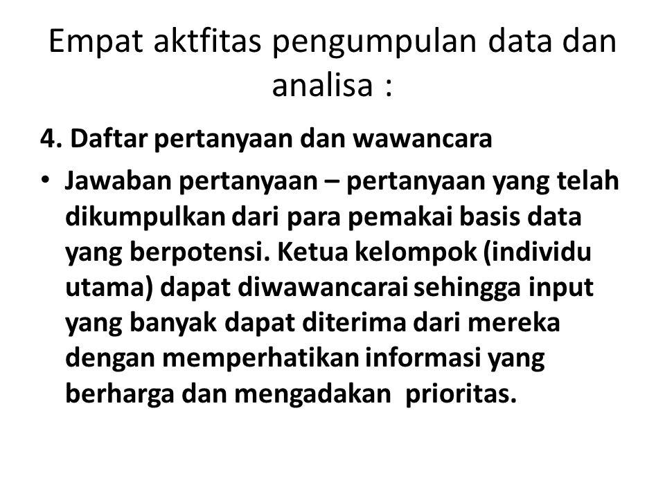 Empat aktfitas pengumpulan data dan analisa : 4. Daftar pertanyaan dan wawancara Jawaban pertanyaan – pertanyaan yang telah dikumpulkan dari para pema