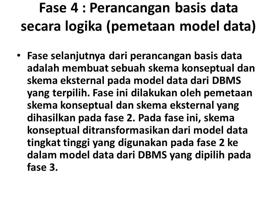 Fase 4 : Perancangan basis data secara logika (pemetaan model data) Fase selanjutnya dari perancangan basis data adalah membuat sebuah skema konseptual dan skema eksternal pada model data dari DBMS yang terpilih.
