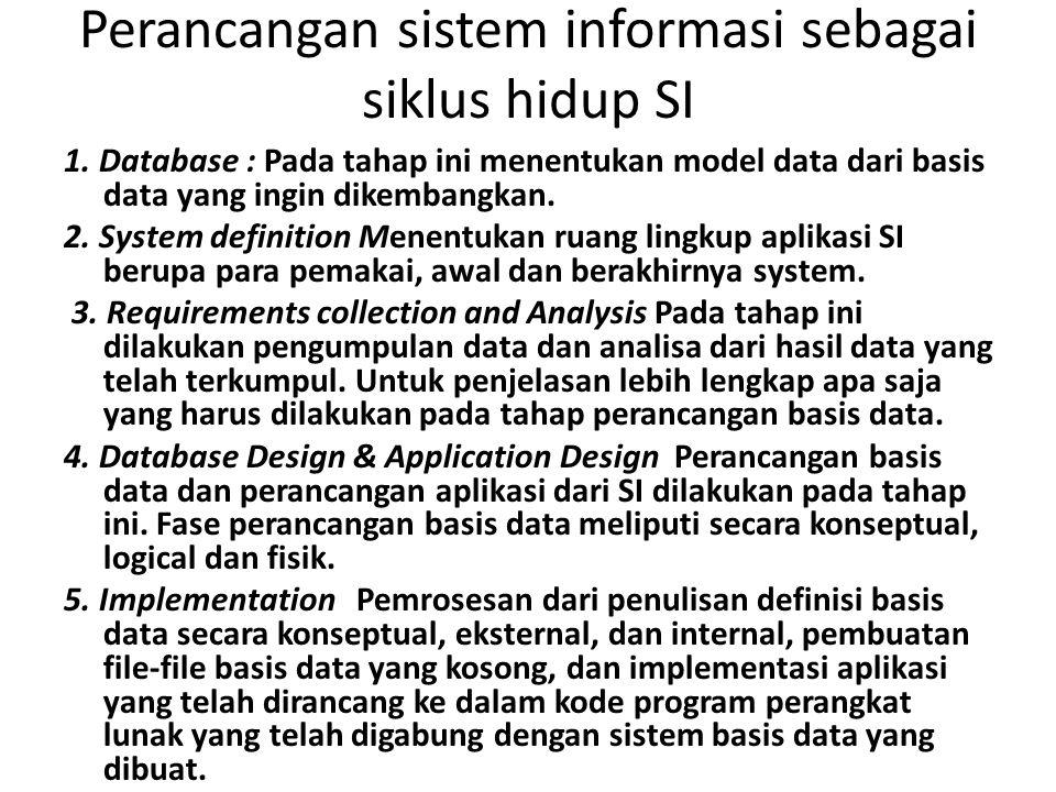 Perancangan sistem informasi sebagai siklus hidup SI 1. Database : Pada tahap ini menentukan model data dari basis data yang ingin dikembangkan. 2. Sy