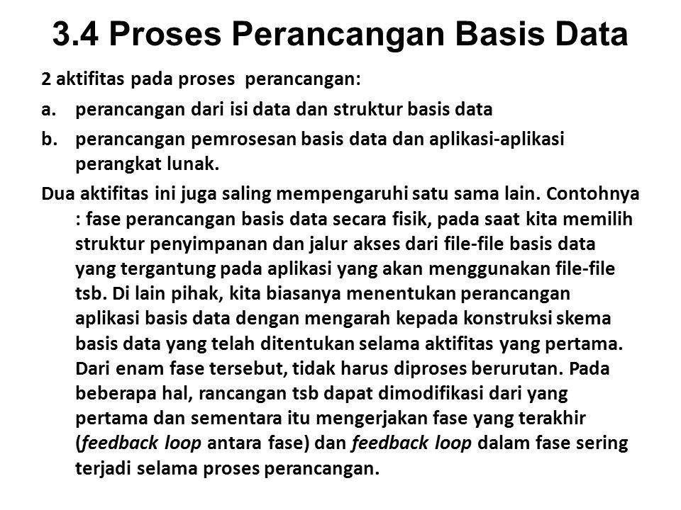 3.4 Proses Perancangan Basis Data 2 aktifitas pada proses perancangan: a.perancangan dari isi data dan struktur basis data b.perancangan pemrosesan basis data dan aplikasi-aplikasi perangkat lunak.