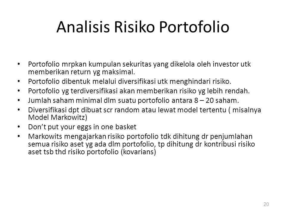 Analisis Risiko Portofolio Portofolio mrpkan kumpulan sekuritas yang dikelola oleh investor utk memberikan return yg maksimal. Portofolio dibentuk mel